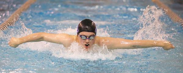 12-5-19<br /> Northwestern swimming<br /> Austin Huskey swimming the butterfly in the boys 200 yard medley relay.<br /> Kelly Lafferty Gerber | Kokomo Tribune