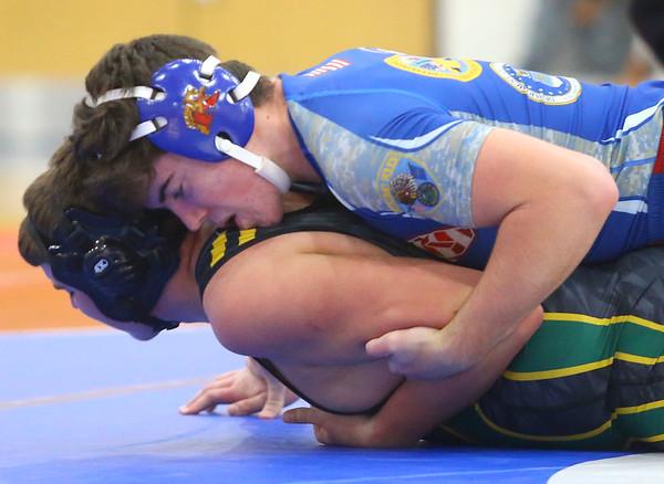 12-4-19<br /> Kokomo vs Eastern wrestling<br /> Kokomo's Mitchell Wyrick defeats Eastern's Nathan Herr in the 220.<br /> Kelly Lafferty Gerber | Kokomo Tribune
