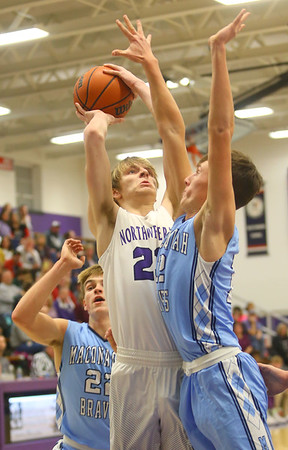 12-20-19<br /> Northwestern vs Maconaquah boys basketball<br /> NW's Braydyn Bishop puts up a shot.<br /> Kelly Lafferty Gerber   Kokomo Tribune