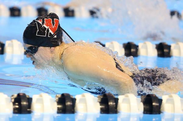 12-3-19<br /> Western swimming<br /> Jenaka Hawkins swims the butterfly in the girls 200 IM.<br /> Kelly Lafferty Gerber | Kokomo Tribune