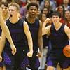 12-6-19<br /> Western vs Northwestern boys basketball<br /> From left: Austin O'Neal, Tayson Parker and Mason Estle celebrate after a foul is called on Western.<br /> Kelly Lafferty Gerber | Kokomo Tribune