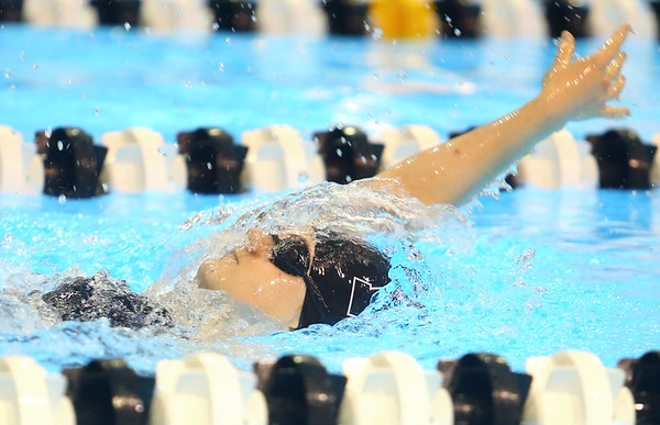 12-3-19<br /> Western swimming<br /> Jenaka Hawkins swims the backstroke in the girls 200 IM.<br /> Kelly Lafferty Gerber | Kokomo Tribune