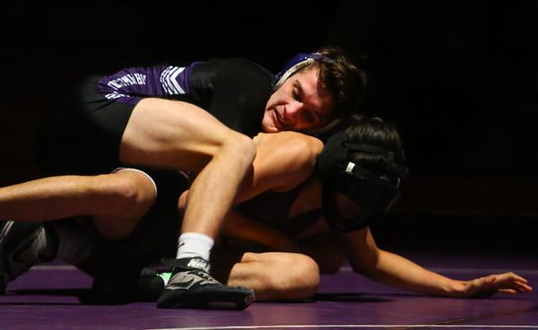 12-19-19<br /> Northwestern vs Marion wrestling<br /> NW's Bodey Henry defeats Marion's Obett Martinez in the 138.<br /> Kelly Lafferty Gerber | Kokomo Tribune