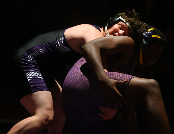 12-19-19<br /> Northwestern vs Marion wrestling<br /> NW's Christian Stout defeats Marion's Kalique Malone in the 195.<br /> Kelly Lafferty Gerber | Kokomo Tribune