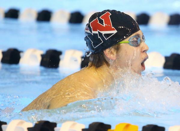 12-3-19<br /> Western swimming<br /> Mason Hill swims the breast stroke in the boys 200 yard medley relay.<br /> Kelly Lafferty Gerber | Kokomo Tribune