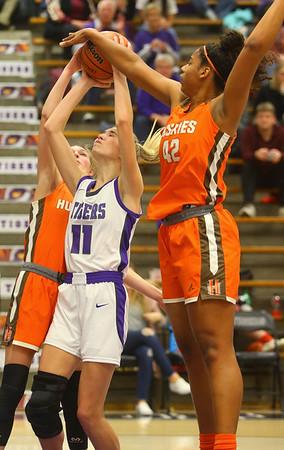 12-10-19<br /> Northwestern vs Hamilton Heights girls basketball<br /> McKenna Layden is fouled at the basket.<br /> Kelly Lafferty Gerber   Kokomo Tribune
