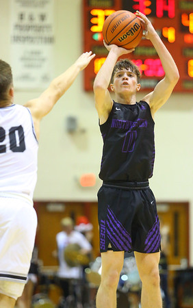 12-6-19<br /> Western vs Northwestern boys basketball<br /> NW's Nathan Bennett shoots.<br /> Kelly Lafferty Gerber | Kokomo Tribune