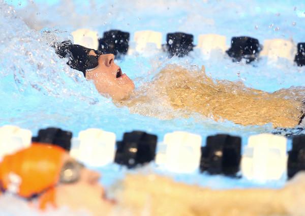 12-3-19<br /> Western swimming<br /> Austin Butcher swims the backstroke in the boys 200 yard medley relay.<br /> Kelly Lafferty Gerber | Kokomo Tribune