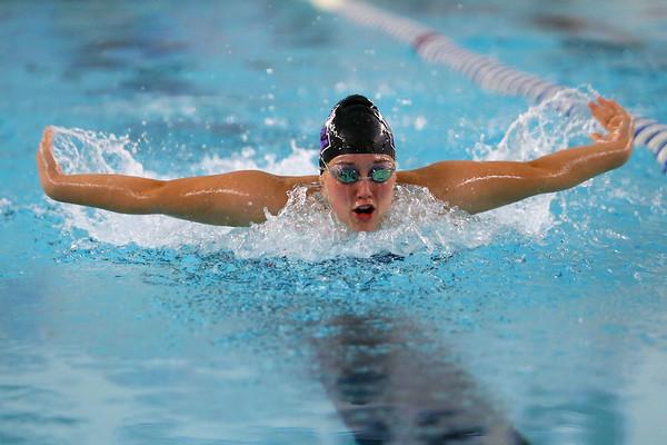 Northwestern's Ann Bourff swimming the 100 yard fly during the swim meet between Kokomo HS and Northwestern HS on Monday December 16, 2019. <br /> Tim Bath | Kokomo Tribune