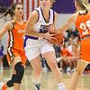 12-10-19<br /> Northwestern vs Hamilton Heights girls basketball<br /> Klair Merrell takes the ball down the court.<br /> Kelly Lafferty Gerber | Kokomo Tribune