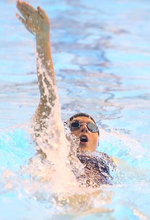 12-3-19<br /> Western swimming<br /> Delaney Lupoi backstrokes in the girls 200 yard medley relay.<br /> Kelly Lafferty Gerber | Kokomo Tribune