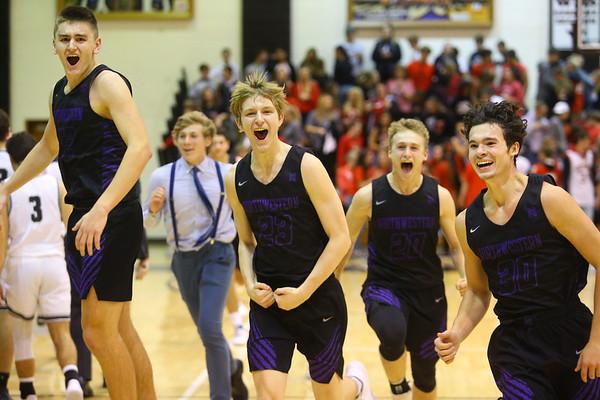 12-6-19<br /> Western vs Northwestern boys basketball<br /> From left: Eli Edwards, Brayden Bishop, Austin O'Neal, and Ethan Kinney celebrate after winning the game.<br /> Kelly Lafferty Gerber | Kokomo Tribune