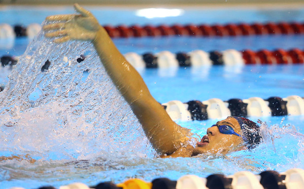 12-3-19<br /> Western swimming<br /> Palmer Harrell swims the backstroke in the boys 200 IM.<br /> Kelly Lafferty Gerber | Kokomo Tribune