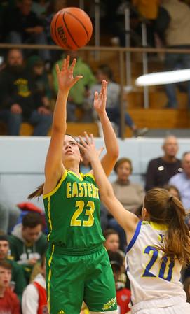 12-13-19<br /> Tri Central vs Eastern girls basketball<br /> Eastern's Kara Otto shoots.<br /> Kelly Lafferty Gerber | Kokomo Tribune