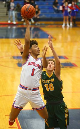 12-27-19<br /> Kokomo vs Eastern boys basketball in the Phil Cox Memorial Holiday Tournament<br /> Kokomo's Savion Barrett shoots.<br /> Kelly Lafferty Gerber | Kokomo Tribune