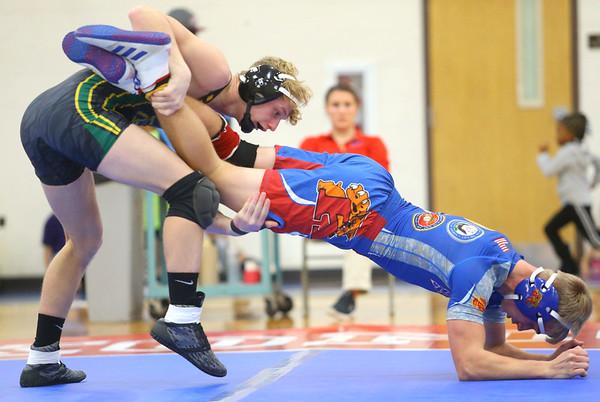 12-4-19<br /> Kokomo vs Eastern wrestling<br /> Eastern's Tallan Morrisett defats Taylor Duncan in the 152.<br /> Kelly Lafferty Gerber | Kokomo Tribune