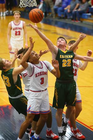 12-27-19<br /> Kokomo vs Eastern boys basketball in the Phil Cox Memorial Holiday Tournament<br /> Eastern's Ethan Wilcox reaches for the rebound.<br /> Kelly Lafferty Gerber | Kokomo Tribune