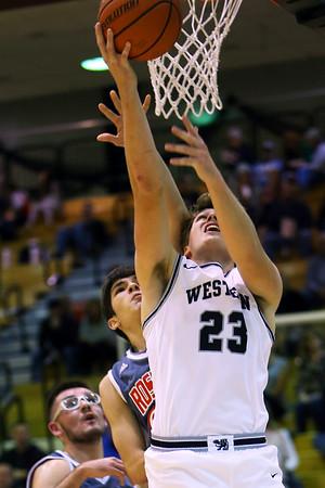 Conner Linn goes up for 2 in the Western HS vs Rossville boys basketball game on Dec. 14, 2019. <br /> Tim Bath   Kokomo Tribune
