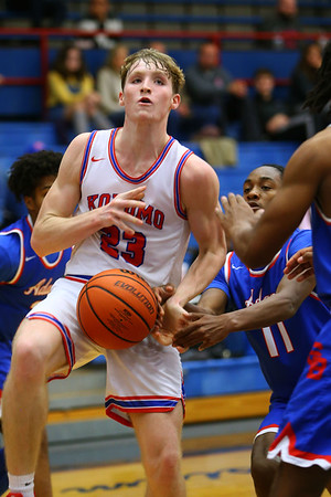 Jackson Richards being fouled in the 4th quarter during Saturday afternoon action between the Kokomo Wildcats and South Bend Adams Eagles on December 28, 2019. Tim Bath | Kokomo Tribune