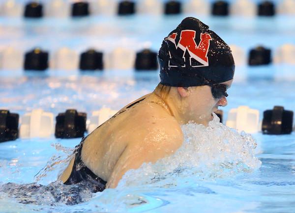 12-3-19<br /> Western swimming<br /> Jenaka Hawkins does the breast stroke in the girls 200 yard medley relay.<br /> Kelly Lafferty Gerber | Kokomo Tribune