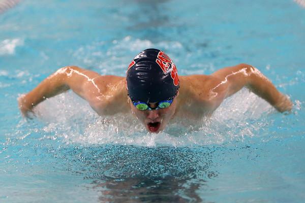 Kokomo's Sean Ryals swimming the 100 yard fly during the swim meet between Kokomo HS and Northwestern HS on Monday December 16, 2019. <br /> Tim Bath | Kokomo Tribune