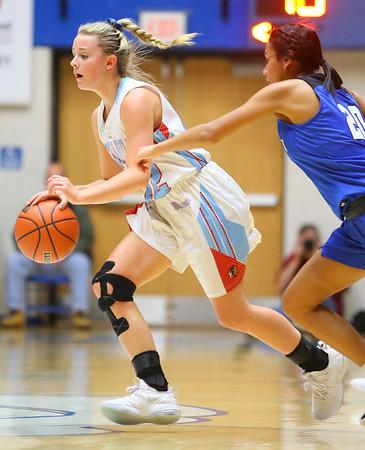 2-1-19<br /> Maconaquah vs Frankfort GBB<br /> Mac's Lilly Maple dribbles down the court.<br /> Kelly Lafferty Gerber   Kokomo Tribune