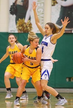 2-9-19 Tipton vs Monroe Central girls regional basketball semi-final Tipton's Cassidy Crawford puts the defense on MC's Brooke Bolton. Kelly Lafferty Gerber | Kokomo Tribune