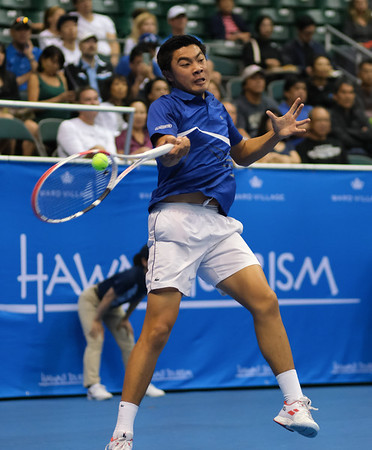 Brandon Nakashima hits a forehand against Sam Querrey in the finals of the men's draw of the 2019 Hawaii Open at the Stan Sheriff Center on December 28, 2019 in Honolulu, Hawaii.