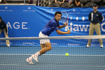 Brandon Nakashima runs down a backhand attempt against Sam Querrey in the finals of the men's draw of the 2019 Hawaii Open at the Stan Sheriff Center on December 28, 2019 in Honolulu, Hawaii.