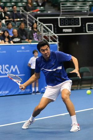 Brandon Nakashima prepares to hit a forehand against Sam Querrey in the finals of the men's draw of the 2019 Hawaii Open at the Stan Sheriff Center on December 28, 2019 in Honolulu, Hawaii.