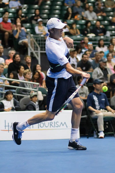 Sam Querrey hits a forehand against Brandon Nakashima in the men's finals of the 2019 Hawaii Open at the Stan Sheriff Center on December 28, 2019 in Honolulu, Hawaii.