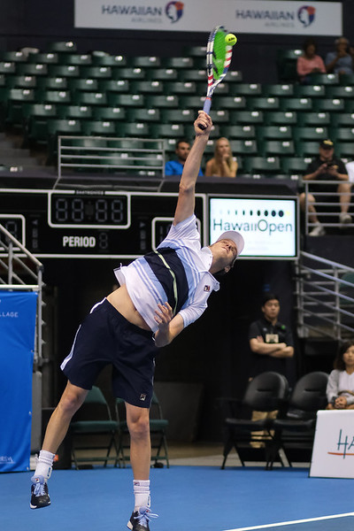 Sam Querrey serves against Brandon Nakashima in the men's finals of the 2019 Hawaii Open at the Stan Sheriff Center on December 28, 2019 in Honolulu, Hawaii.