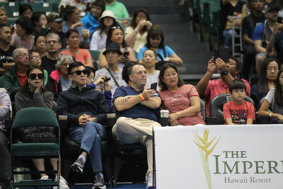 Hawaii Lieutenant Governor Josh Green sits courtside at the finals of the men's draw of the 2019 Hawaii Open at the Stan Sheriff Center on December 28, 2019 in Honolulu, Hawaii.