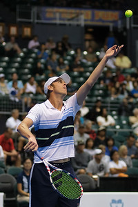 Sam Querrey tosses the ball before serving against Brandon Nakashima in the men's finals of the 2019 Hawaii Open at the Stan Sheriff Center on December 28, 2019 in Honolulu, Hawaii.