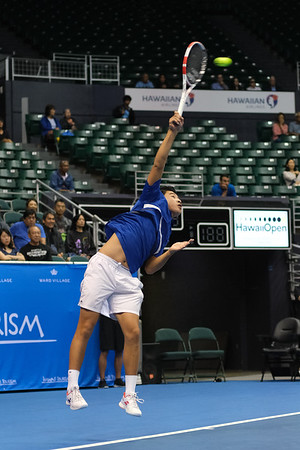 Brandon Nakashima hits a serve against Sam Querrey in the finals of the men's draw of the 2019 Hawaii Open at the Stan Sheriff Center on December 28, 2019 in Honolulu, Hawaii.