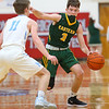 1-3-19<br /> Maconaquah vs Eastern boys basketball<br /> Eastern's Jared Smith dribbles down the court.<br /> Kelly Lafferty Gerber | Kokomo Tribune