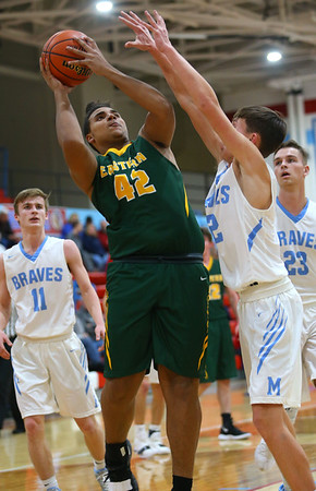 1-3-19<br /> Maconaquah vs Eastern boys basketball<br /> Eastern's Antonio Matthews puts up a shot.<br /> Kelly Lafferty Gerber   Kokomo Tribune