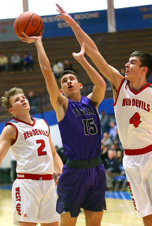 Cameron Austin shooting in the first half of Sectional action between Northwestern HS and West Lafayette HS on March 1, 2019.<br /> Tim Bath   Kokomo Tribune