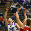 Klair Merrell is fouled going to the line and making the first point of the game as Northwestern girls defeated Twin Lakes 80-28 on Saturday Nov. 9, 2019.<br /> Tim Bath | Kokomo Tribune