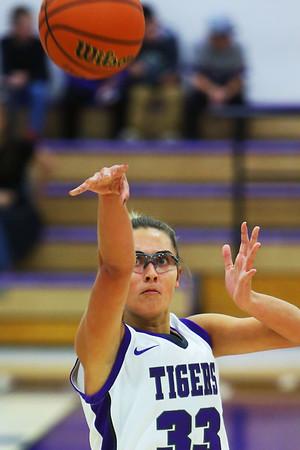 Madison Layden puts up one of her 3 pointers as Northwestern girls defeated Twin Lakes 80-28 on Saturday Nov. 9, 2019.<br /> Tim Bath   Kokomo Tribune