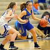 11-14-19<br /> Tipton vs Tri Central girls basketball<br /> Tri Central's Brittany Temple dribbles down the court.<br /> Kelly Lafferty Gerber   Kokomo Tribune