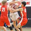11-27-19<br /> Taylor vs Frankton boys basketball<br /> Taylor's Ryley Gilbert throws a pass.<br /> Kelly Lafferty Gerber | Kokomo Tribune