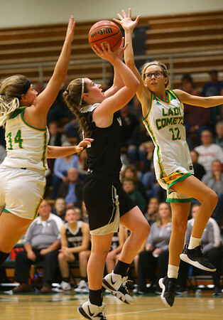 11-7-19<br /> Eastern vs Western girls basketball<br /> Western's Sadie Harding puts up a shot.<br /> Kelly Lafferty Gerber | Kokomo Tribune
