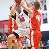 11-27-19<br /> Taylor vs Frankton boys basketball<br /> Taylor's Nathan Keene puts up a shot.<br /> Kelly Lafferty Gerber | Kokomo Tribune