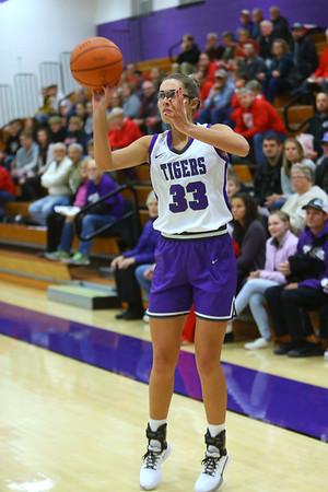 Madison Layden puts up one of her 3 pointers as Northwestern girls defeated Twin Lakes 80-28 on Saturday Nov. 9, 2019.<br /> Tim Bath | Kokomo Tribune