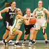 11-7-19<br /> Eastern vs Western girls basketball<br /> Eastern's Lexi James and Western's Sadie Harding battle over the ball.<br /> Kelly Lafferty Gerber | Kokomo Tribune