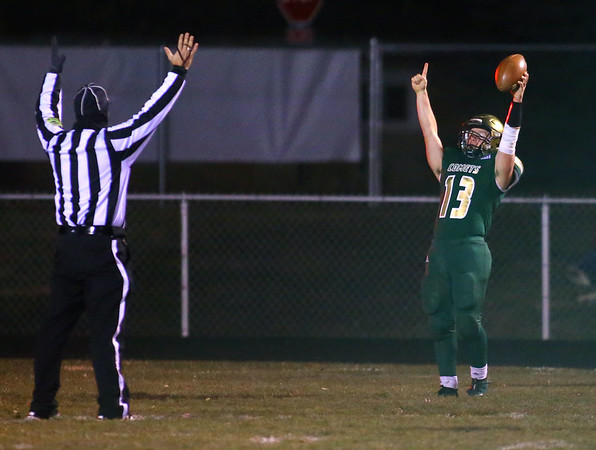 11-8-19<br /> Eastern vs Eastbrook sectional football championship<br /> Zane Downing scores a touchdown for the Comets.<br /> Kelly Lafferty Gerber | Kokomo Tribune