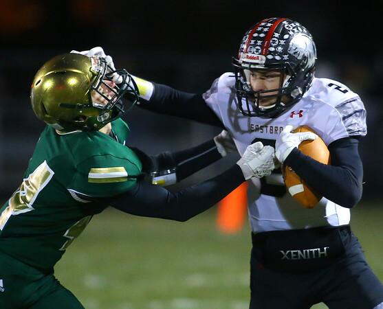 11-8-19<br /> Eastern vs Eastbrook sectional football championship<br /> Eastern's Tallan Morrisett pushes Eastbrook's Ezekiel Binkard out of bounds.<br /> Kelly Lafferty Gerber   Kokomo Tribune