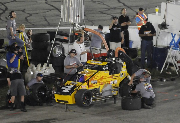 Don Knight   The Herald Bulletin<br /> Kody Swanson pits on lap 187 during the Payless Little 500 on Saturday.