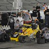 Don Knight | The Herald Bulletin<br /> Kody Swanson pits on lap 187 during the Payless Little 500 on Saturday.